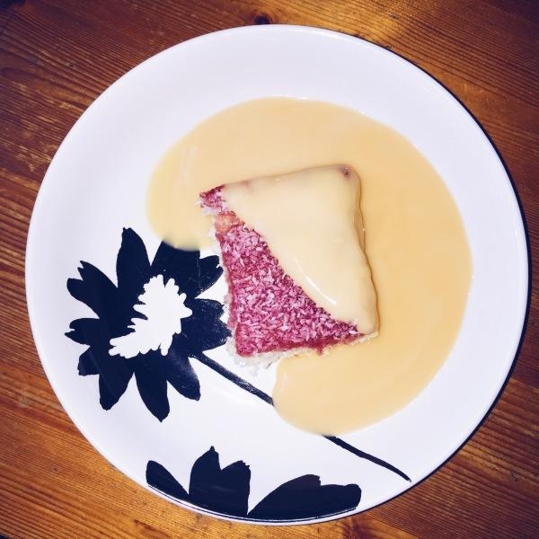 Jam & Coconut Sponge with Custard
